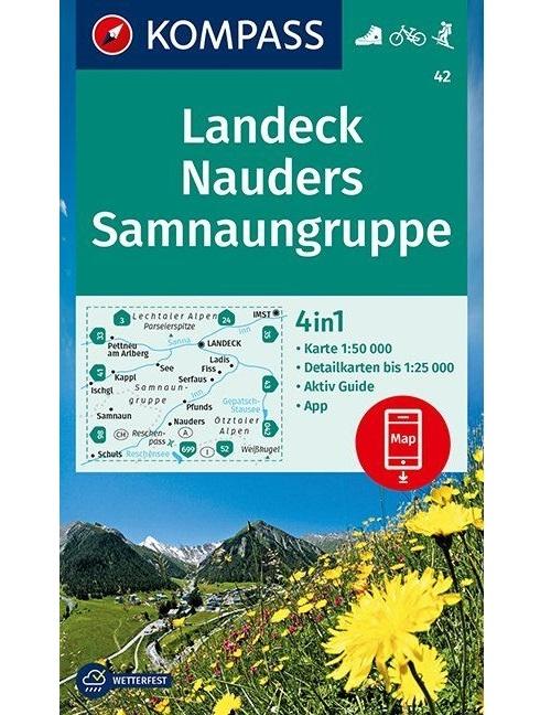 Kompass-Karten Gmbh,Landeck, Nauders, Samnaungruppe 1:50 000