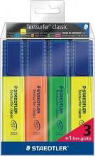 , Markeerstift Staedtler 364 Textsurfer set à 3 stuks assorti + 1 geel gratis