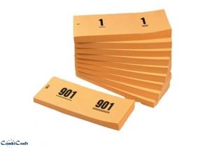 , Nummerblok 42x105mm nummering 1-1000 oranje 10 stuks