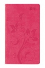 Ladytimer Slim Deluxe Pink 2018 - Taschenplaner Taschenkalender (9 x 16) - Tucson Einband - Motivprägung Floral - Weekly - 128 Seiten