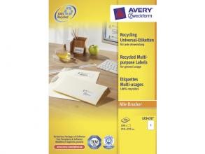 , etiket Avery ILK 210x297mm recycled 100 vel 1 etiketten per vel wit