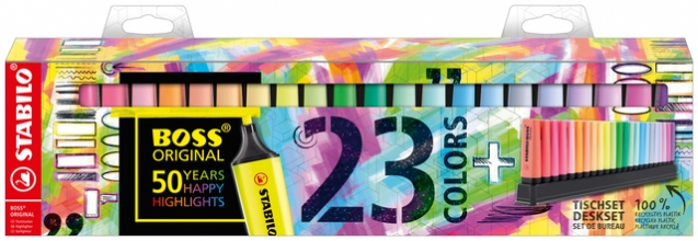 , Markeerstift STABILO Boss Original 50-jarige jubileum deskset à 23 kleuren