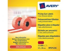 , prijstangetiketten Avery permanent 26x12mm rood 10 rol in   doos