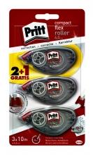 , Correctieroller Pritt compact flex 6mm x 10m blister 2+1 gratis