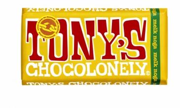 , Chocolade Tony`s Chocolonely reep 180gr melk noga