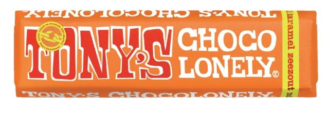 , Chocolade Tony`s Chocolonely reep 47gr karamel zeezout