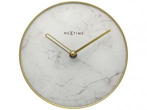 , NeXtime - Tafelklok - Ø 20 cm - Glas / Metaal - Wit -       `Marble`