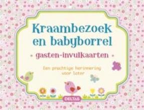 Gasten-invulkaarten Kraambezoek en babyborrel (roze)