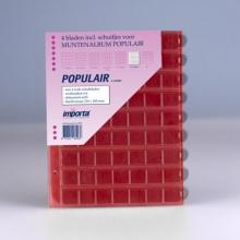 0863r , Importa populair muntalbumbladen 4 stuks 63 vaks rode schutbladen
