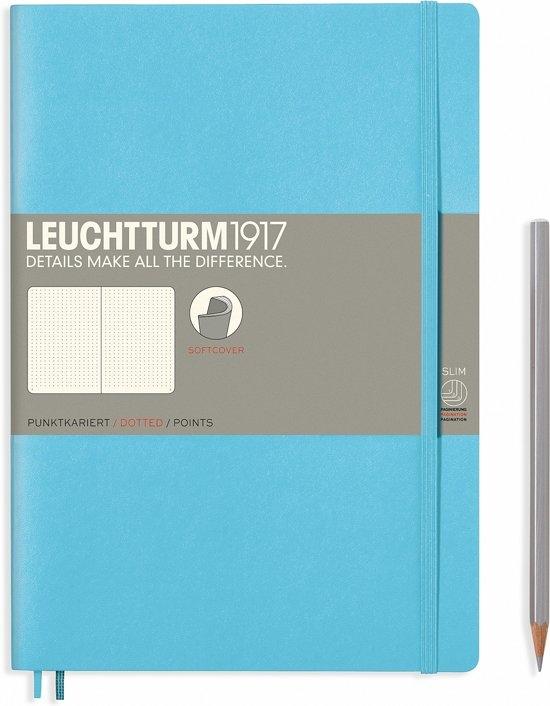 Lt357660,Leuchtturm notitieboek composition 178x254 mm dots/puntjes ice blue