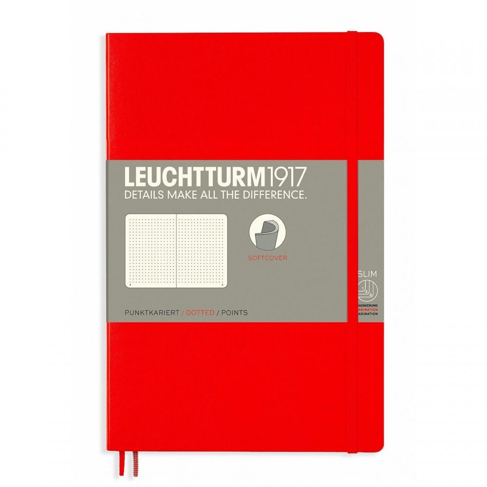 Lt358297,Leuchtturm notitieboek softcover 19x12.5 cm bullets/dots/puntjes rood