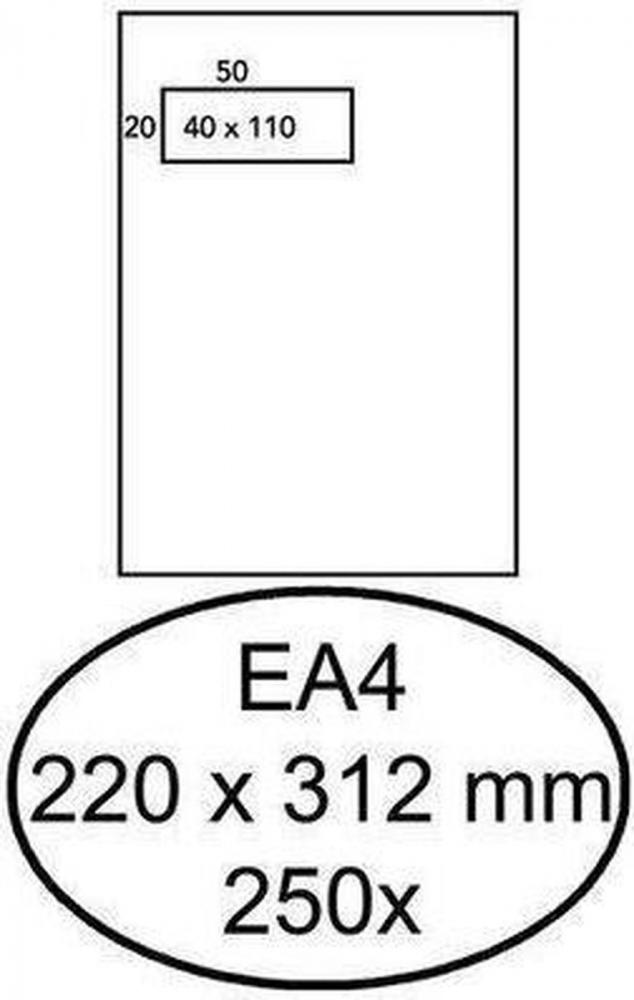 ,Envelop Hermes akte EA4 220x312mm venster 4x11 links zelfkl 250st