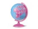 , globe Pink 25cm nederlandstalig kunststof voet met          verlichting
