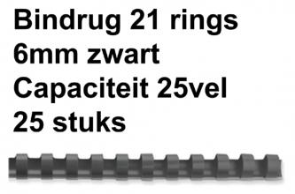 , Bindrug Fellowes 6mm 21rings A4 zwart 25stuks