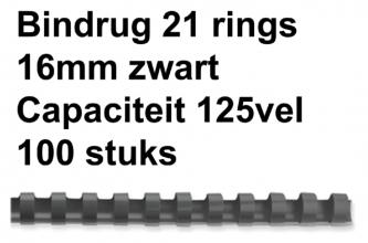 , Bindrug Fellowes 16mm 21rings A4 zwart 100stuks