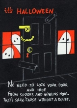Halloween Ghosts Flank Padlocked Door - Halloween Greeting Cards