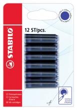 , Inktpatroon STABILO blauw blister à 12 stuks