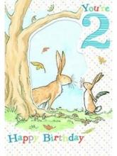 , Hazeltje dubbele kaart jongen 2 jaar 14x20cm (6x in verpakking)