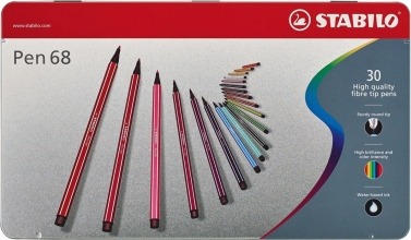 , Viltstift STABILO Pen 68 blik à 30 kleuren