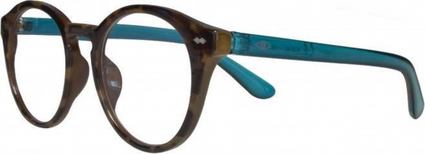 Kce340 , Leesbril icon tokyo, demi front, blue temples 1.00