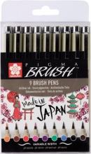 , Viltift met brushpen Bruynzeel Sakura Pigma etui à 9 kleuren