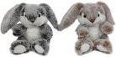 , Knuffel pluche konijn beige en bruin 15 cm