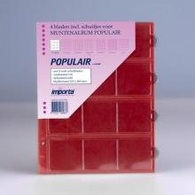 0812r , Importa populair muntalbumbladen 4 stuks 12 vaks rode schutbladen
