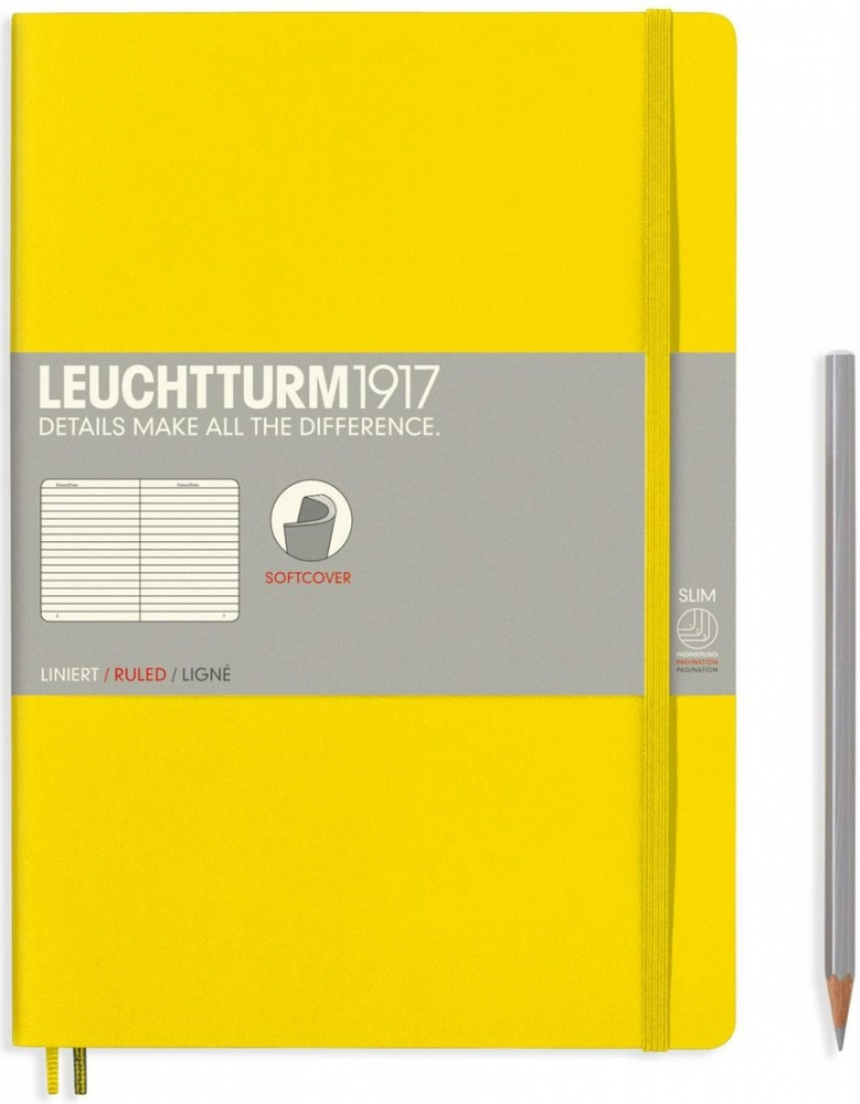 Lt355288,Leuchtturm notitieboek composition softcover 178x254 mm lijn lemon geel