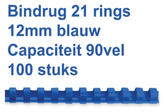 , Bindrug Fellowes 12mm 21rings A4 blauw 100stuks