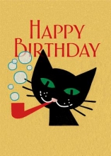 Cat with Pipe Birthday Cards [With Envelope]
