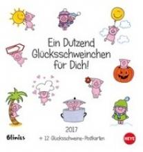 Dutzend Glücksschweine Postkartenkalender - Kalender 2017