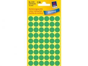 , Etiket Avery Zweckform 3143 rond 12mm groen 270stuks
