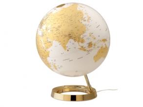 , globe Bright Goud 30cm diameter kunststof voet met          verlichting