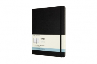 , Moleskine 12 MND Agenda - 2021 - Maandelijks - XL (13x25 cm) - Zwart - Harde Kaft