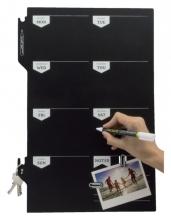 , Krijtbord securit silhouette weekplanner zwart + 1 marker