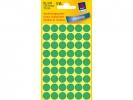 ,Etiket Avery Zweckform 3143 rond 12mm groen 270stuks