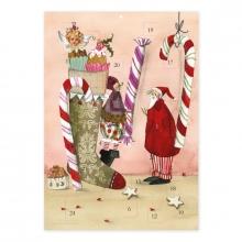 Ak 00326 , Adventskalender kerstsok met zoetigheid