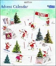, Adventskalender kerstman op ski