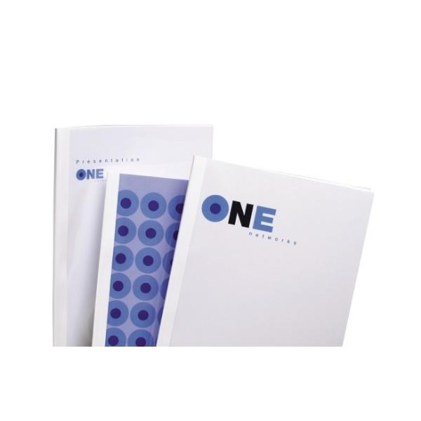 ,Thermische omslag GBC A4 4mm transparant/wit 100stuks