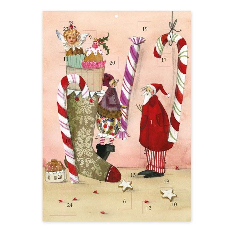 Ak 00326,Adventskalender kerstsok met zoetigheid