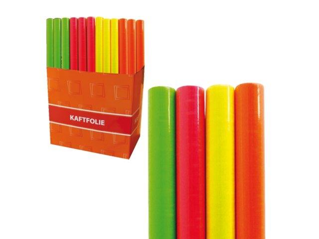 ,Kaftfolie neon 3 meter x 45 cm assorti roze/geel/oranje/groen