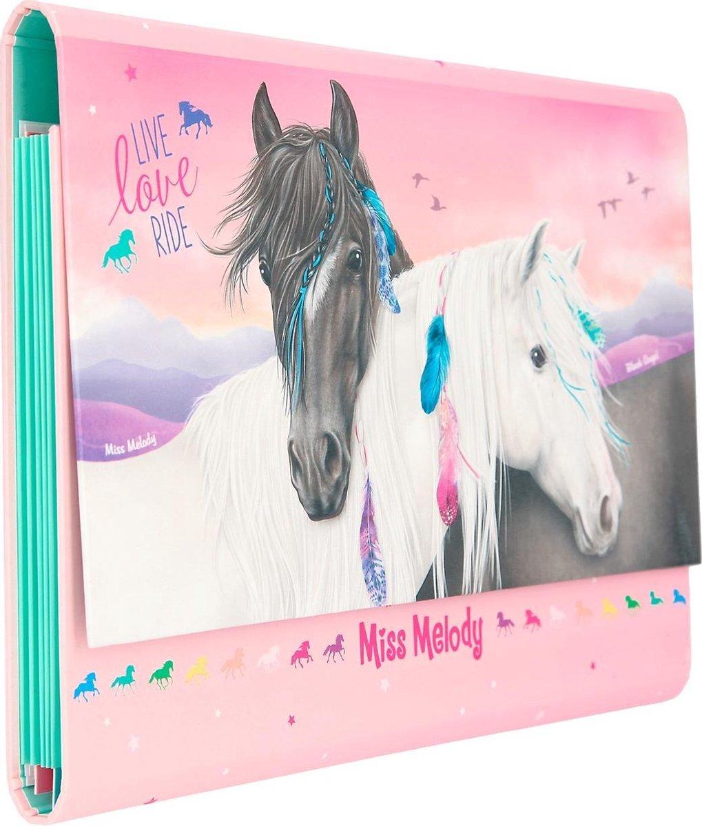 ,Miss melody briefpapier in registermap grijs en wit paard