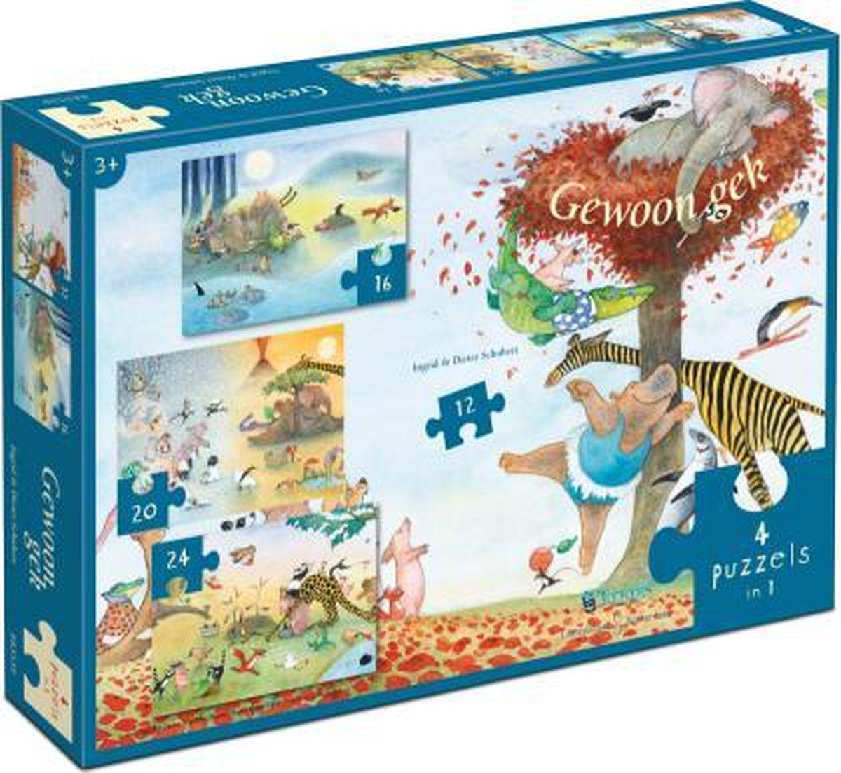 ,Puzzel gewoon gek- ingrid en dieter schubert 4 puzzels in een (12/16/20/24)