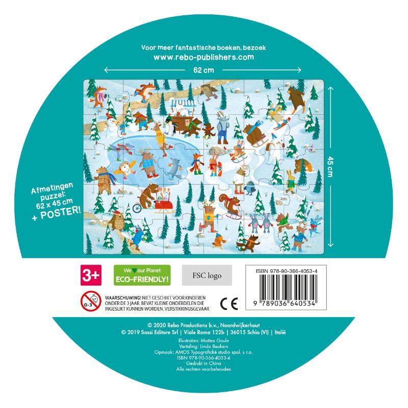 ,Dieren op het ijs - boek + giga puzzel