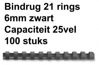 , Bindrug Fellowes 6mm 21rings A4 zwart 100stuks