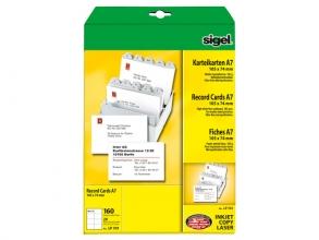 , systeemkaart Sigel A7 74x105mm 185g blanco doos 160St