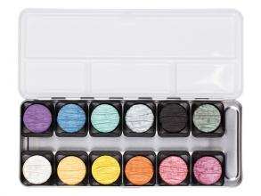, verftablet 30mm iriserende kleuren 6 stuks Finetec