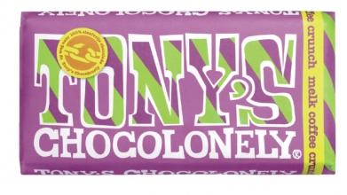 , Chocolade Tony`s Chocolonely reep 180gr melk coffee crunch