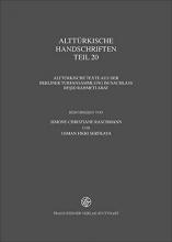 Alttürkische Handschriften Teil 20