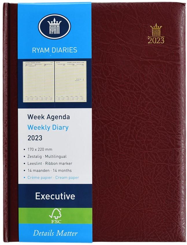 ,Bureau agenda 2021 ryam executive 7dag/2pag bordeaux 17x22